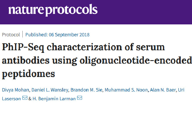 PhIP-Seq characterization of serum antibodies using oligonucleotide-encoded peptidomes. Nature Protocols.