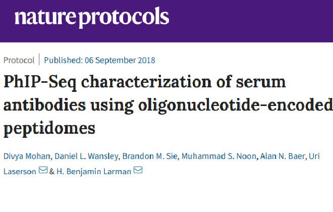PhIP-Seq characterization of serum antibodies using oligonucleotide-encoded peptidomes. Nature Protocols.