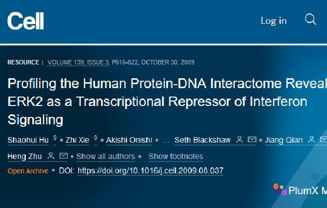 Hu, S. et al. Profiling the Human Protein-DNA Interactome Reveals ERK2 as a Transcriptional Repressor of Interferon Signaling. Cell