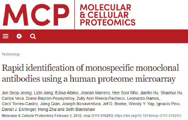 Rapid Identification of Monospecific Monoclonal Antibodies Using a Human Proteome Microarray.