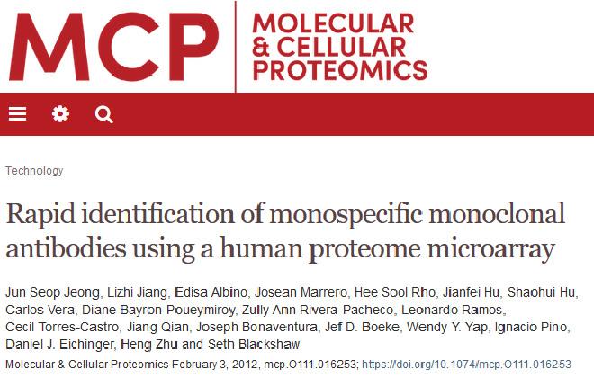 Rapid Identification of Monospecific Monoclonal Antibodies Using a Human Proteome Microarray.