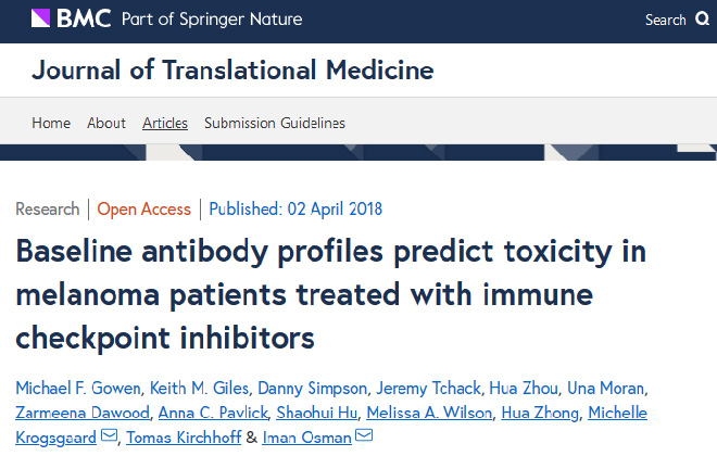 Baseline antibody profiles predict toxicity in melanoma patients treated with immune checkpoint inhibitors