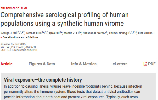 Comprehensive serological profiling of human populations using a synthetic human virome. Science