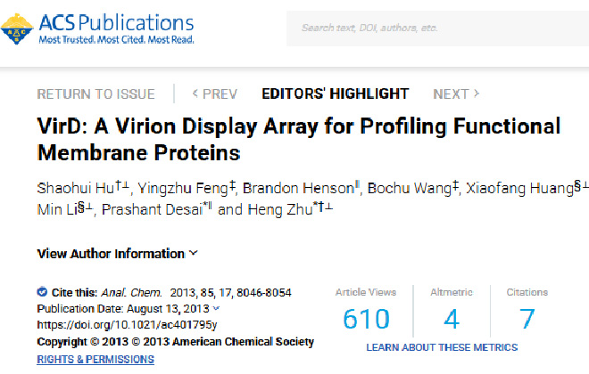 Hu, S. et al. VirD: A Virion Display Array for Profiling Functional Membrane Proteins.